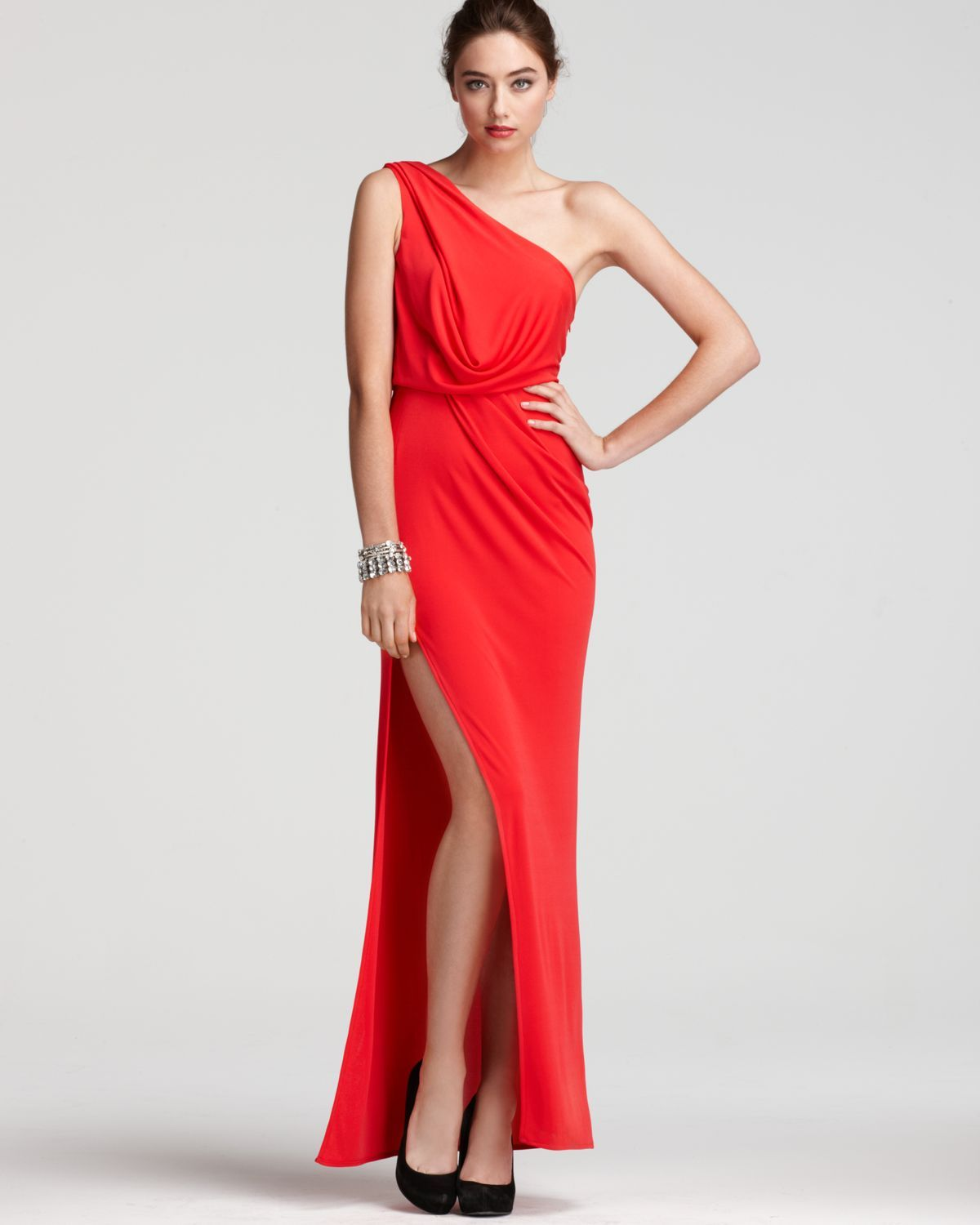 Bcbgmaxazria Gown One Shoulder Grecian Women Dresses Bloomingdale S Red Evening Gowns Evening Dresses Long Red Dress [ 1500 x 1200 Pixel ]
