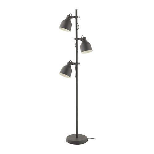 HEKTAR dark grey, Floor lamp with 3 spot IKEA   White