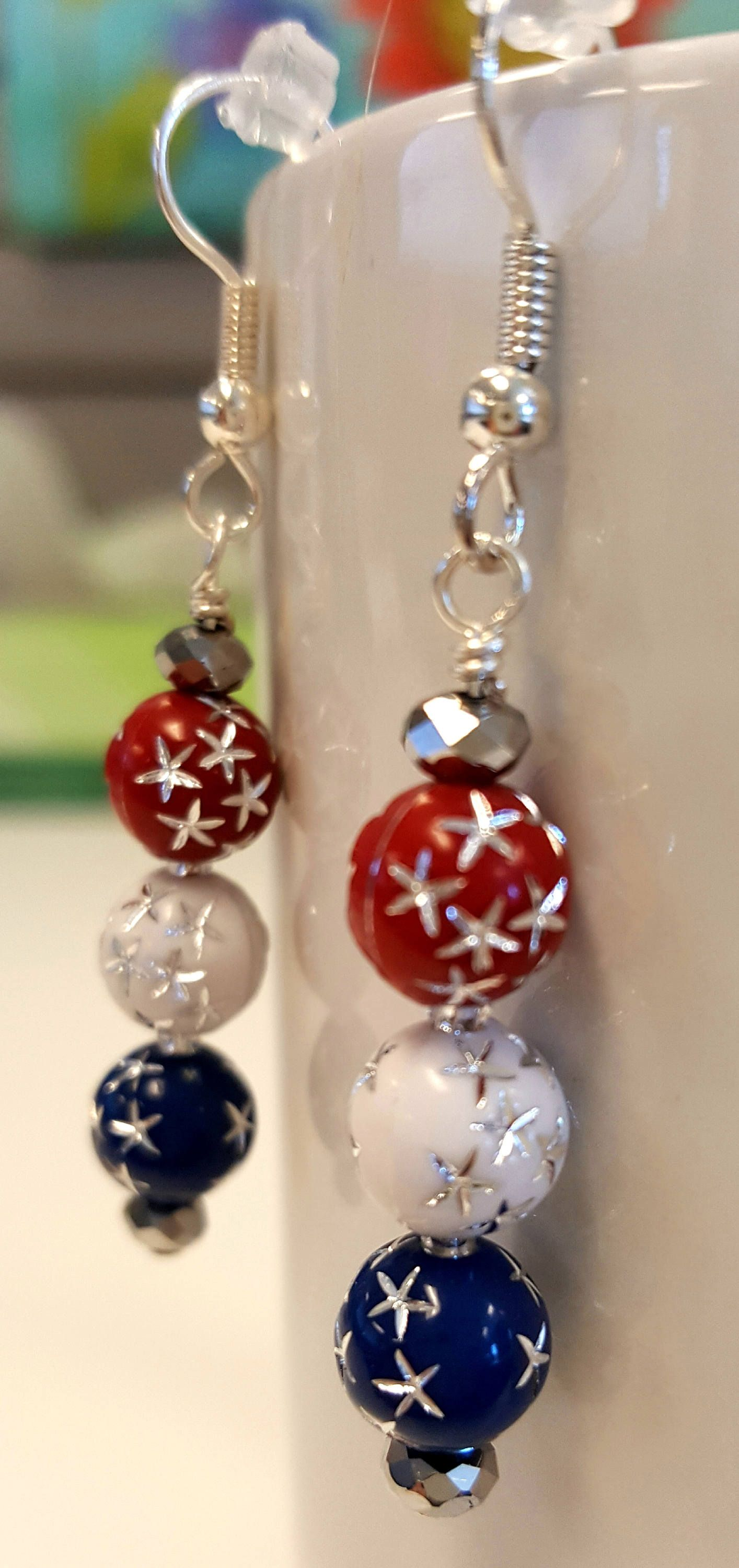 4th Of July Earrings Fourth Red White