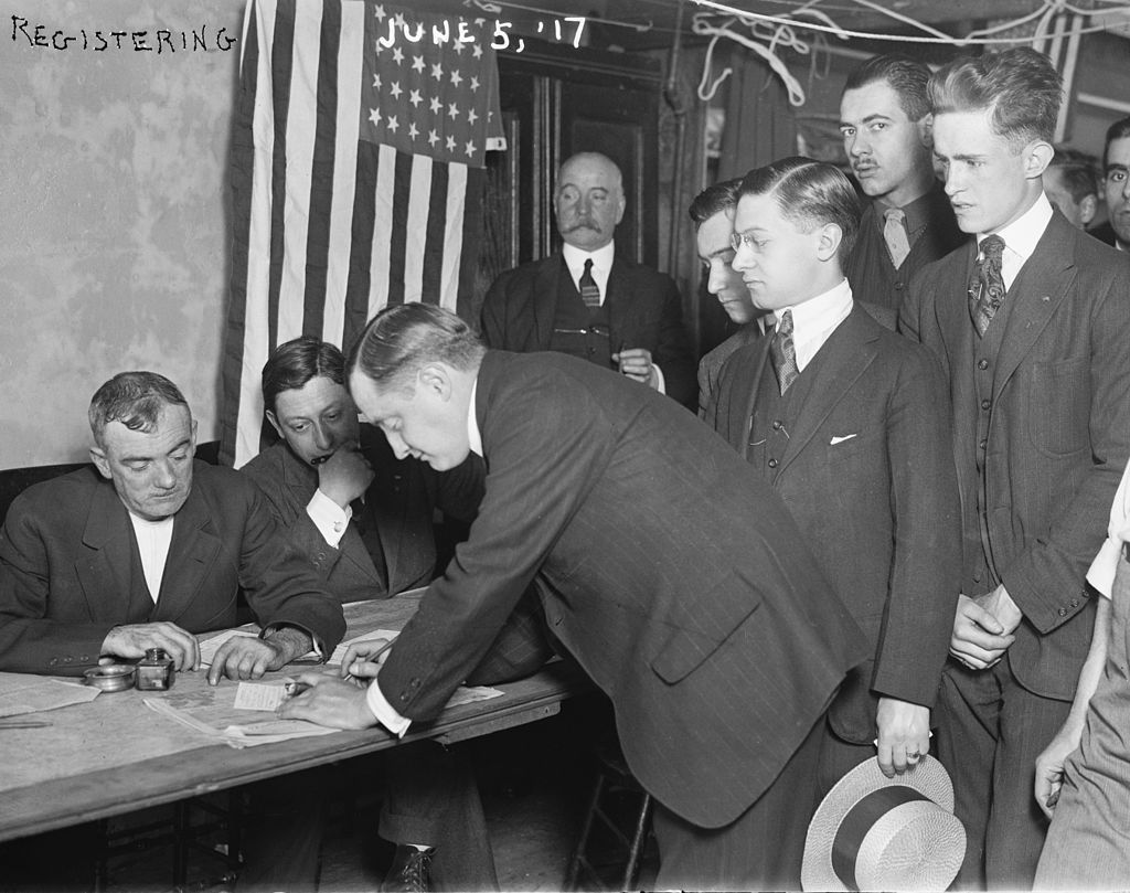 Young men registering for military conscription, New York