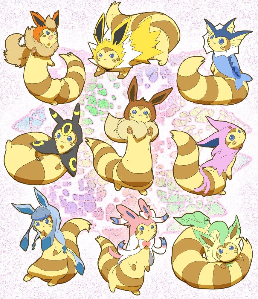 eeveelutions furrets  pokemon gijinka pokemon pokemon art