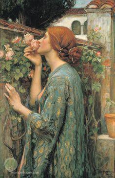 """John William Waterhouse: Mi Rose dulce (también conocido como """"El alma de un…"""