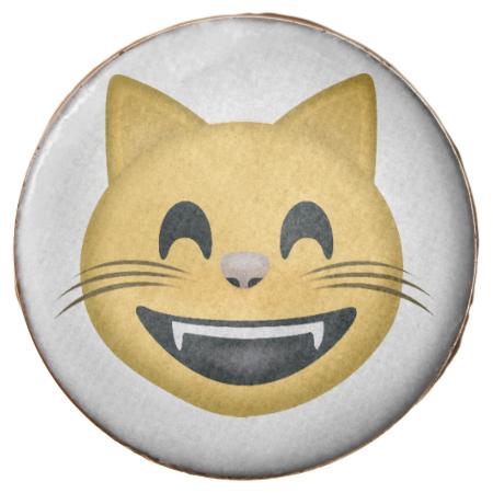 Grinning Cat Face With Smiling Eyes Emoji Chocolate Covered Oreo Cat Face Eyes Emoji Smiling Eyes