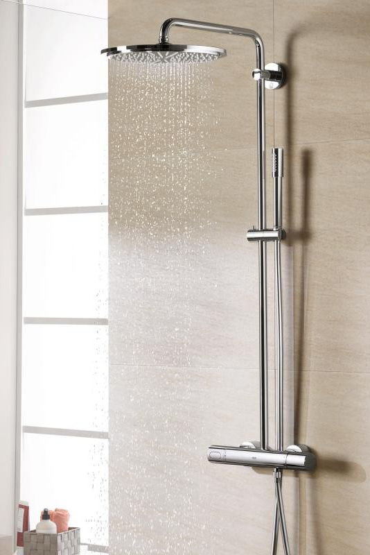 grohe rainshower 310 das duschsystem mit thermostat handbrause und gro er 310 mm kopfbrause. Black Bedroom Furniture Sets. Home Design Ideas