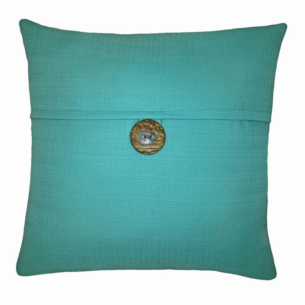 17 Inch Pillow-Oasis Button Turquoise | Chalet inspiration pour l ...