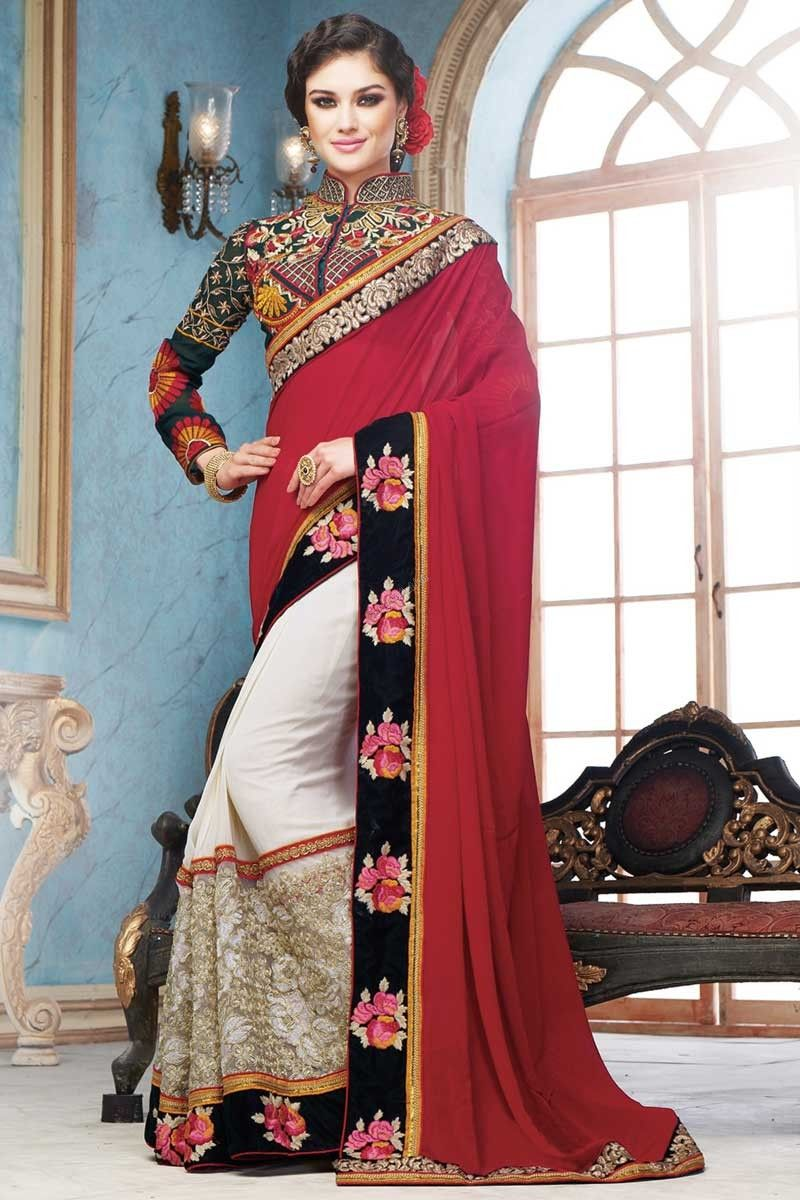 Cream and maroon Georgette and net Saree With Georgette Blouse Cream and maroon georgette and net saree with green georgette blouse.  Embellished with embroidered, resham, zari and stone.  Saree comes with chinese collar blouse.  Product are available in 34,36,38,40 sizes. It is perfect for festival wear, party wear and wedding wear.