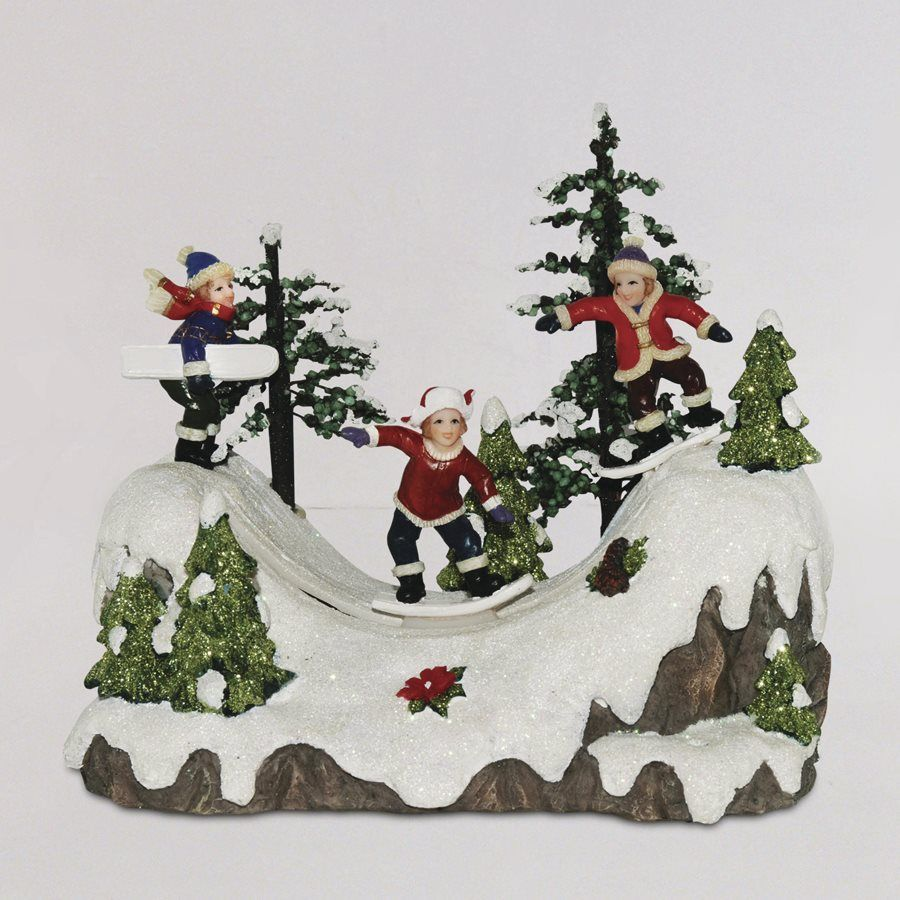 shop carole towne resin led musical animatronic holiday snow boarders christmas collectible at lowes canada find our selection of indoor christmas - Animatronic Christmas Decorations