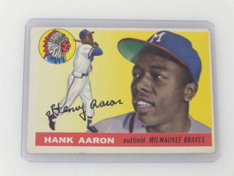 Vintage 1955 Topps Baseball Card 47 Hank Aaron Atlanta