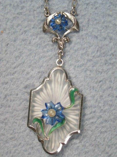 1920s Art Deco Vintage Camphor Glass & Enamel with Glass Flowers Necklace