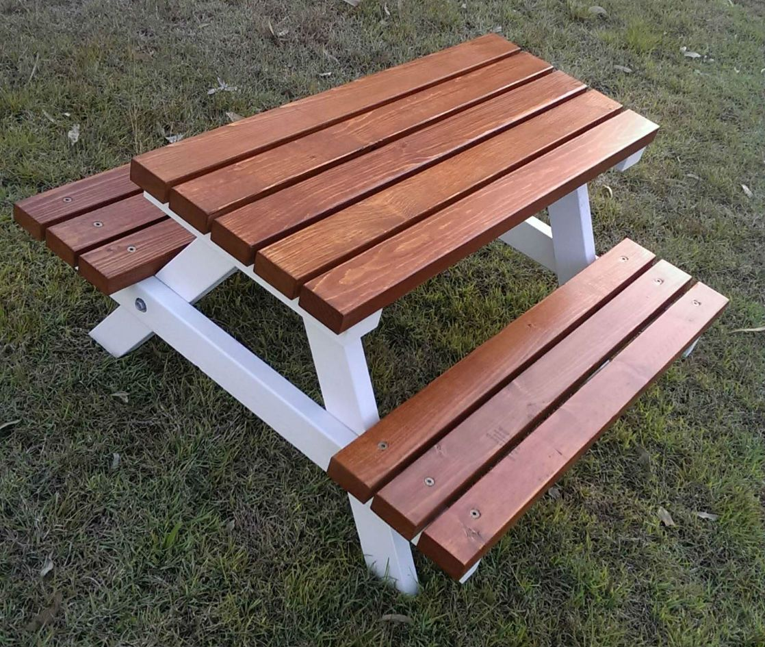 1 5 Years Quality Handmade Kid 39 S Timber Picnic Table Mini Colonial Kids Outdoor
