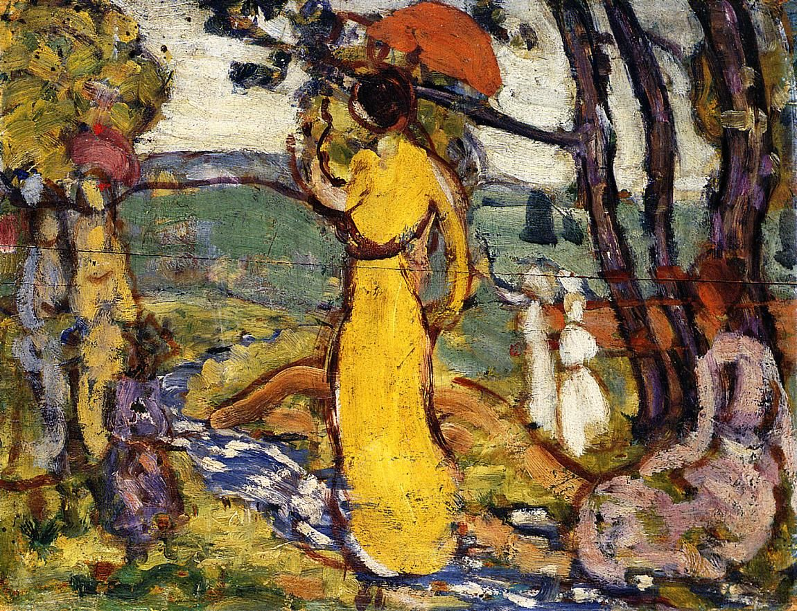 Lady in Yellow Dress in the Park (also known as A Lady in Yellow in the Park)  Maurice Prendergast