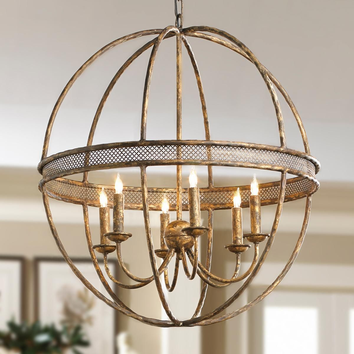 Lattice banded sphere chandelier aged golden lattice adds the lattice banded sphere chandelier aged golden lattice adds the regal touch to this open metal sphere with 6 light chandelier inside arubaitofo Choice Image
