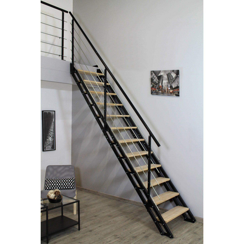 Escalier Droit Structure Acier Marche Bois Leroy Merlin