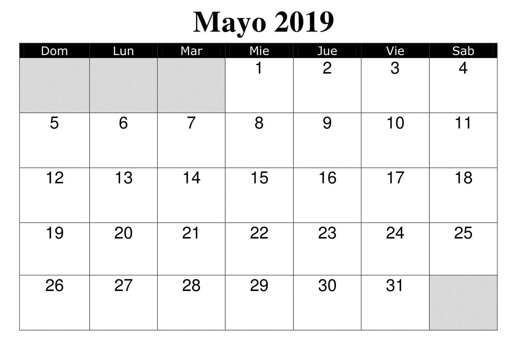 Calendario Mayo 2019 Argentina Modelo 2019 Calendar Printable