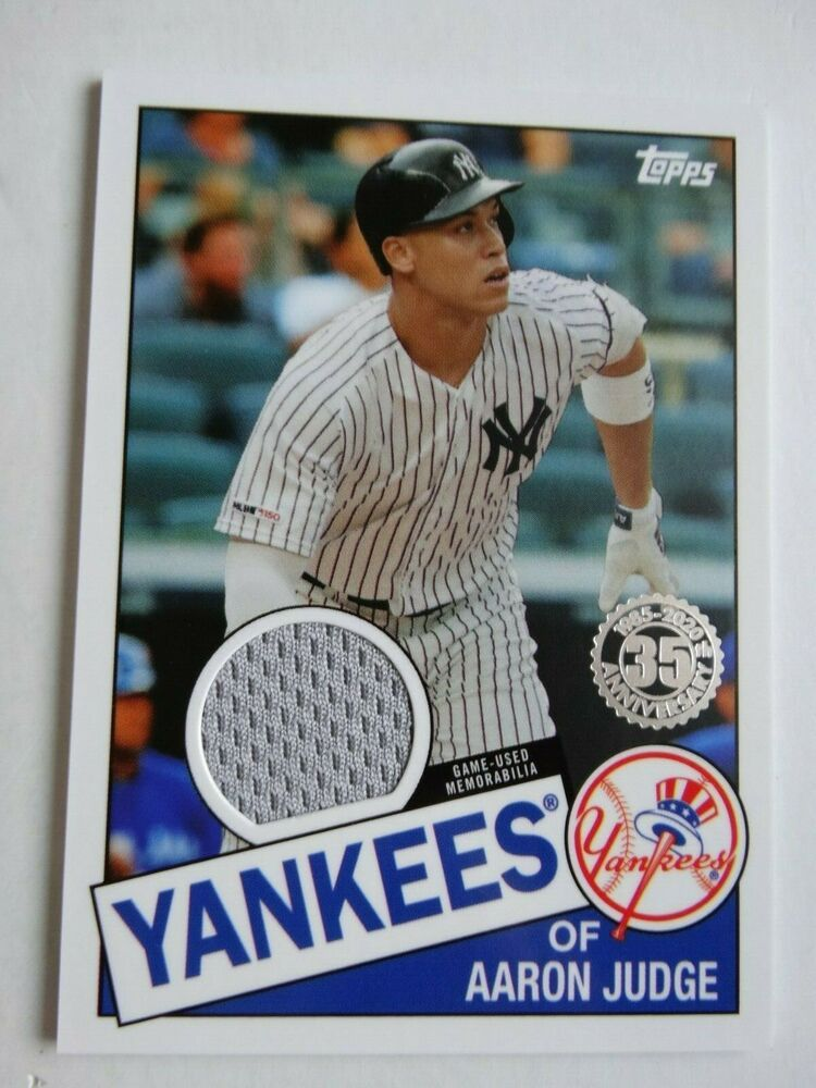 2020 Topps 1985 35th Anniversary Aaron Judge Yankees Jersey Relic Baseball Card Topps Newyorkyankees In 2020 New York Yankees Baseball Yankees