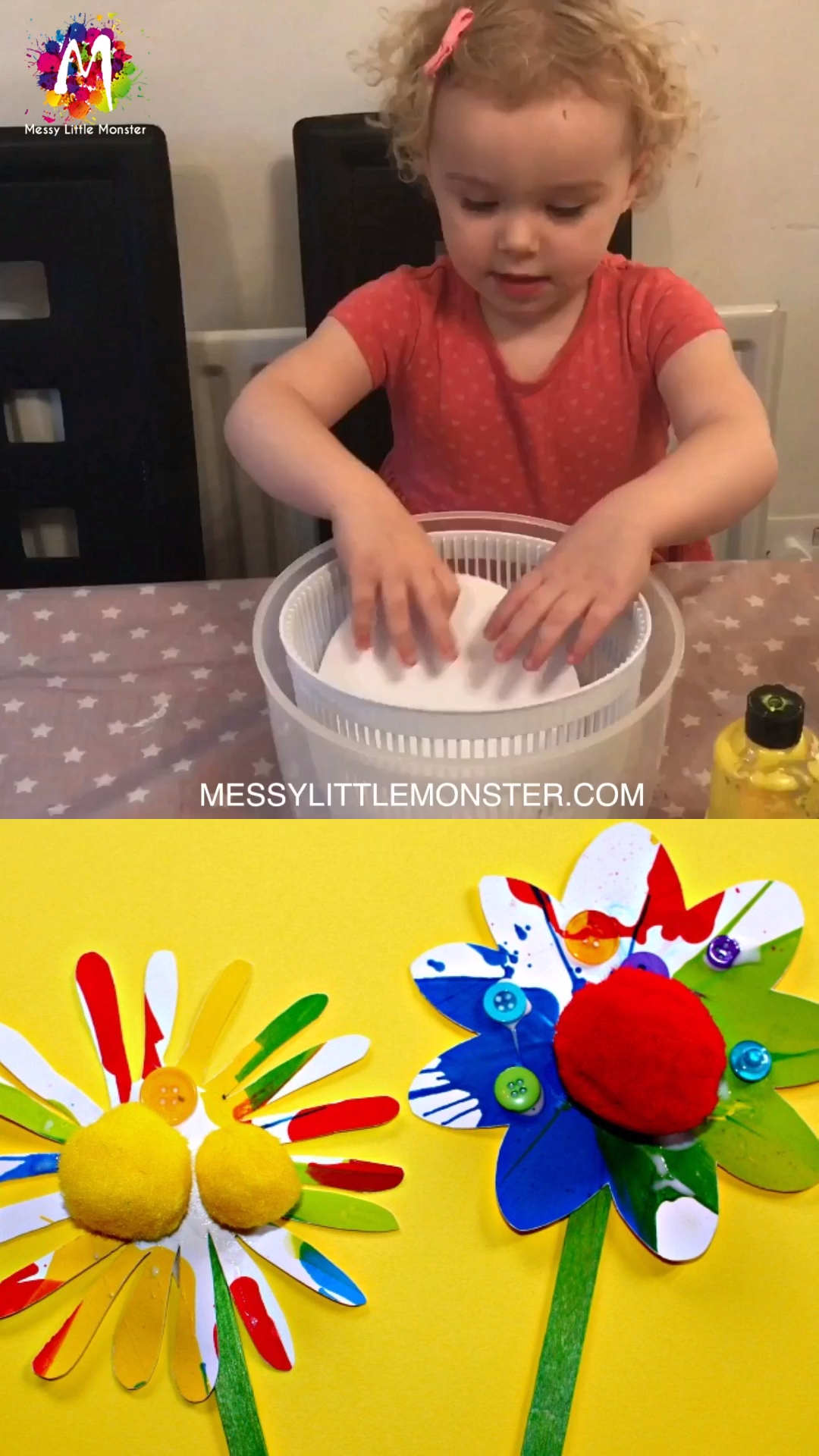 Flower Craft for Kids - spin art #preschoolers