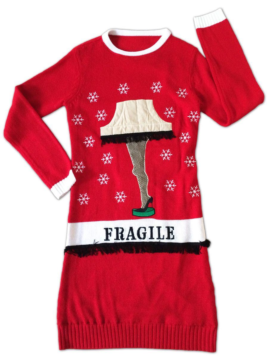 a christmas story lighted leg lamp sweater dress festified