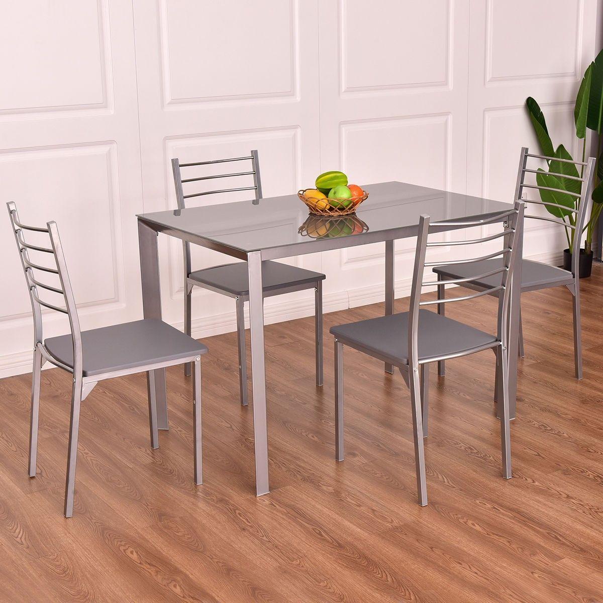 5 pcs Tempered Glass Dining Furniture Set Dining