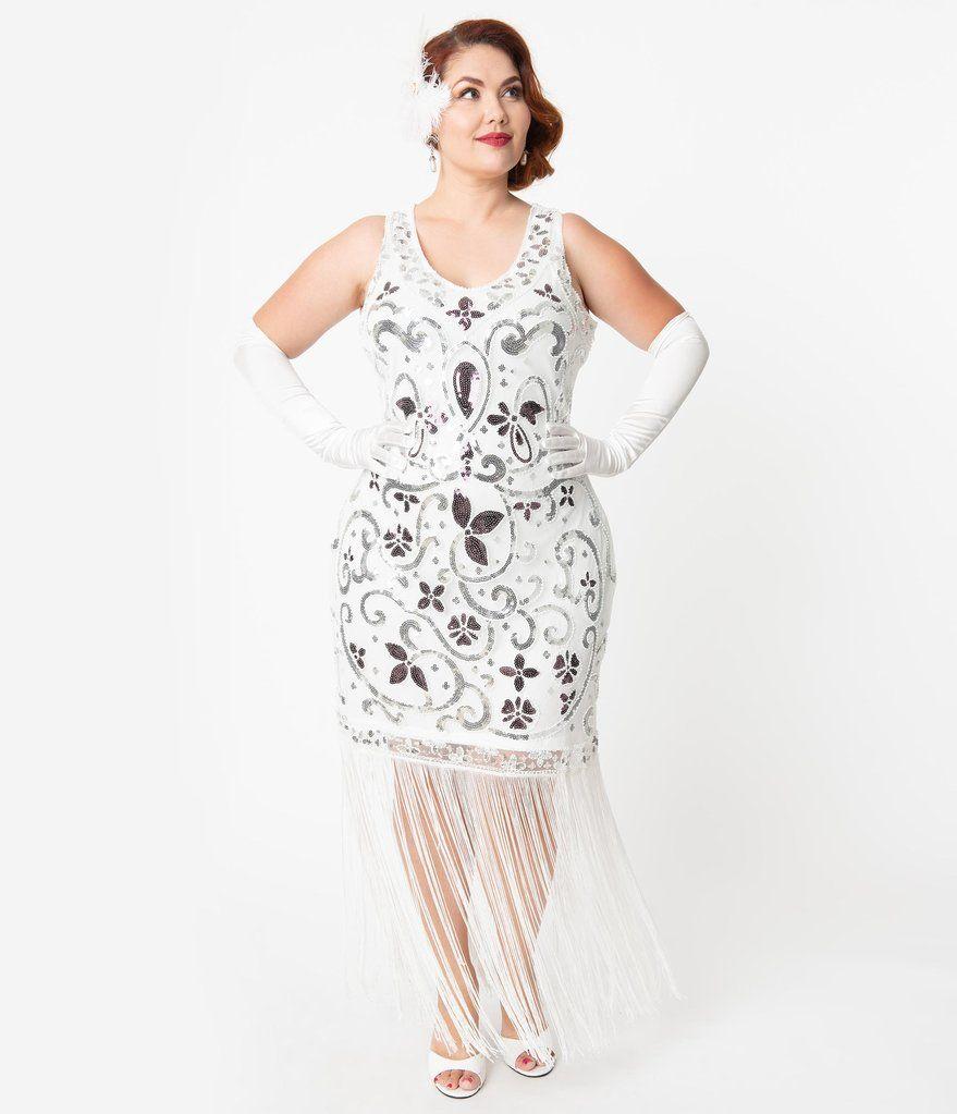 Unique Vintage Plus Size White Silver Sequin St Michel Fringe Flapper Dress Plus Size Flapper Dress Unique Dresses Vintage Inspired Wedding Dresses [ 1023 x 879 Pixel ]