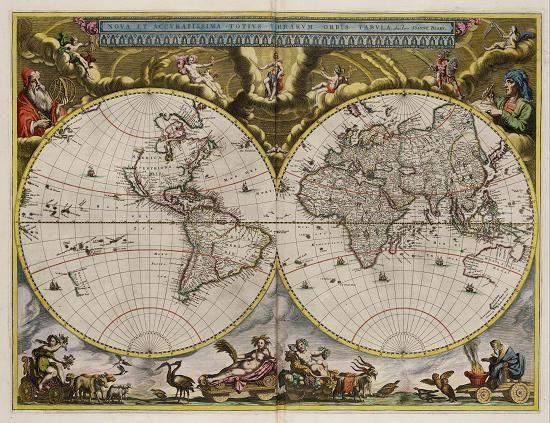 """Mapa""""Nova et Accurant. Terrarum Obis Tabula, 1664"""" - J. Blaeu"""