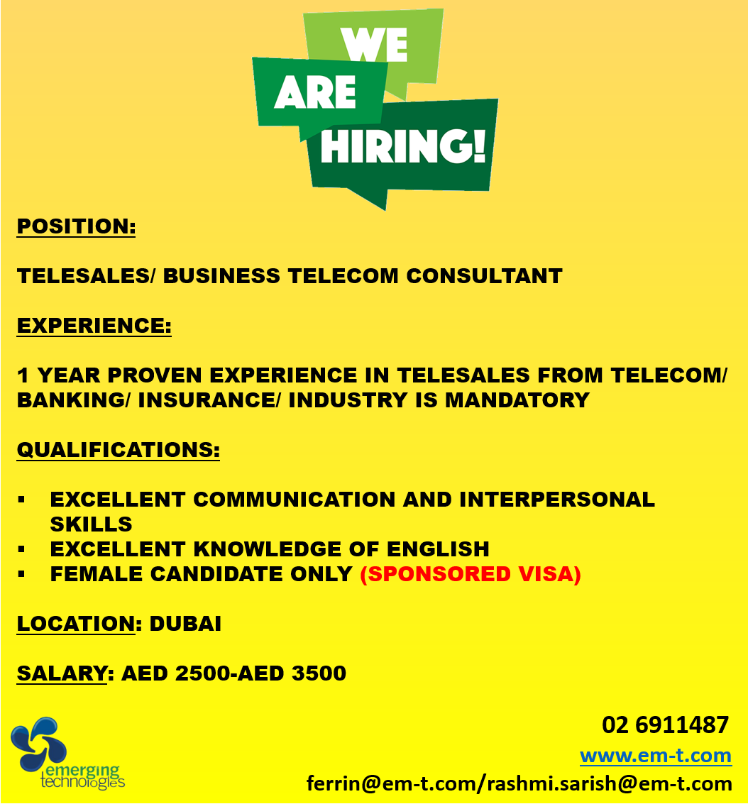 Required Telesales/Business Consultant Sales
