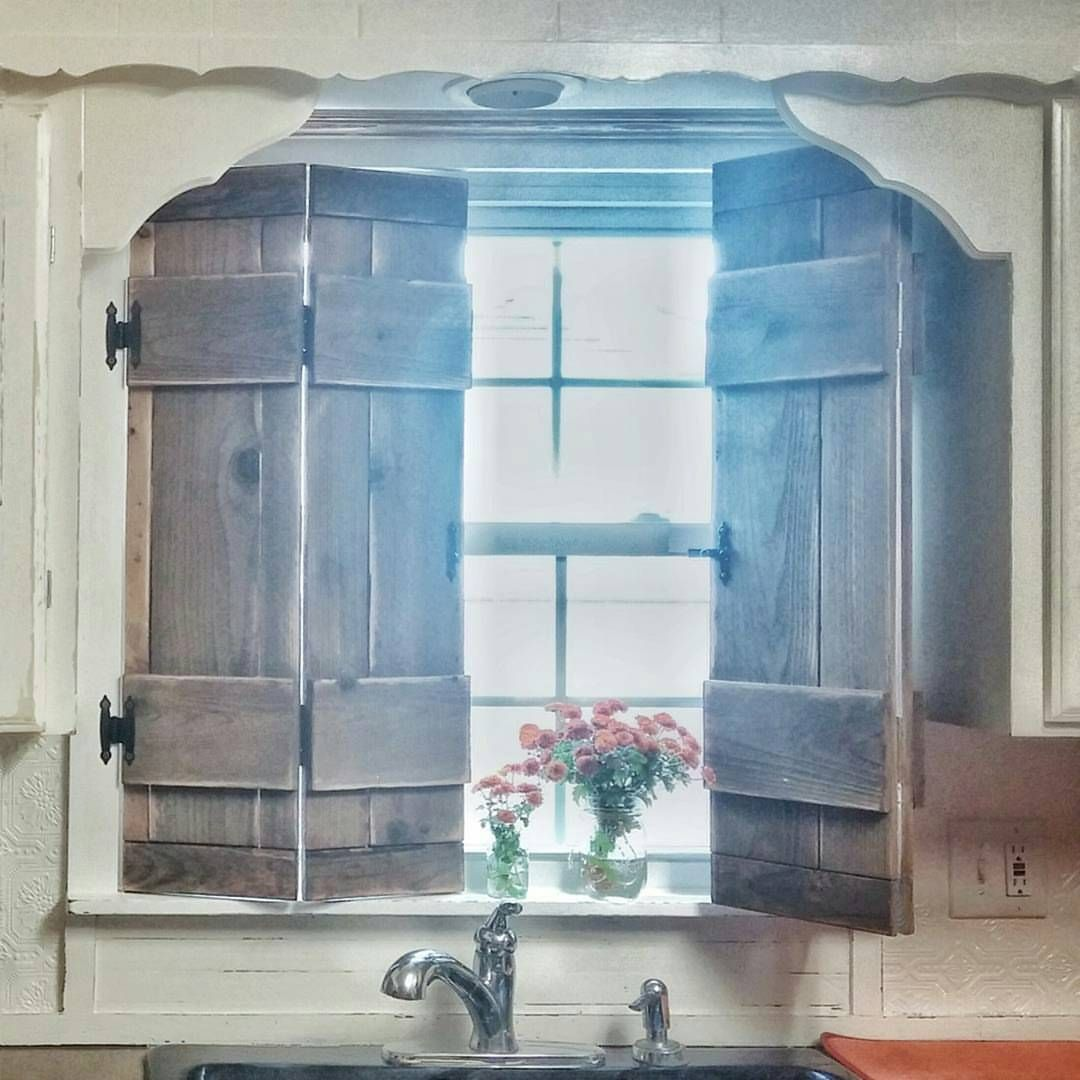 kitchen window shutters whirlpool appliances farmhouse style vintage inspired wood diy cottage faucet natural sun light flowers in mason jar