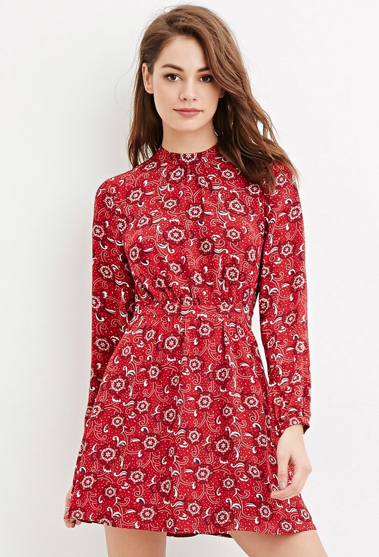 High-Neck Floral Print Dress