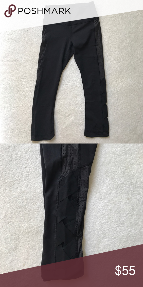 0a75f17de2 Lululemon Crops Luxtreme crop with mesh detailing and braiding on the sides lululemon  athletica Pants Leggings