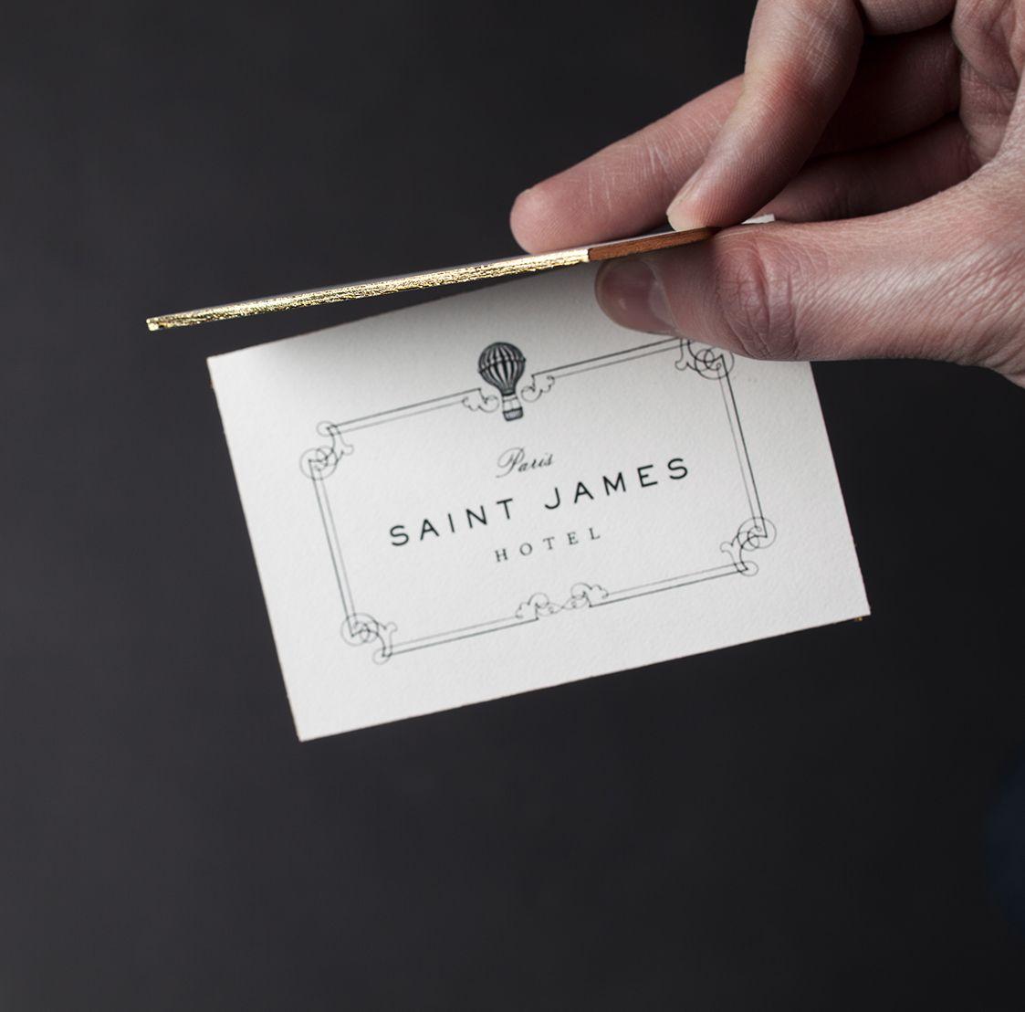 saint james paris hotel & club business card with gold leaf detail ...