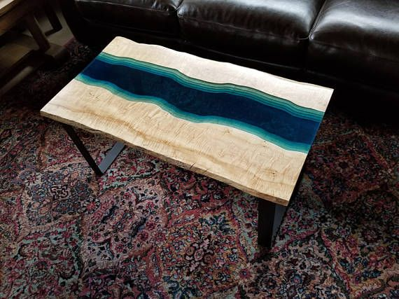 Sold Live Edge With See Through Epoxy River Coffee Table