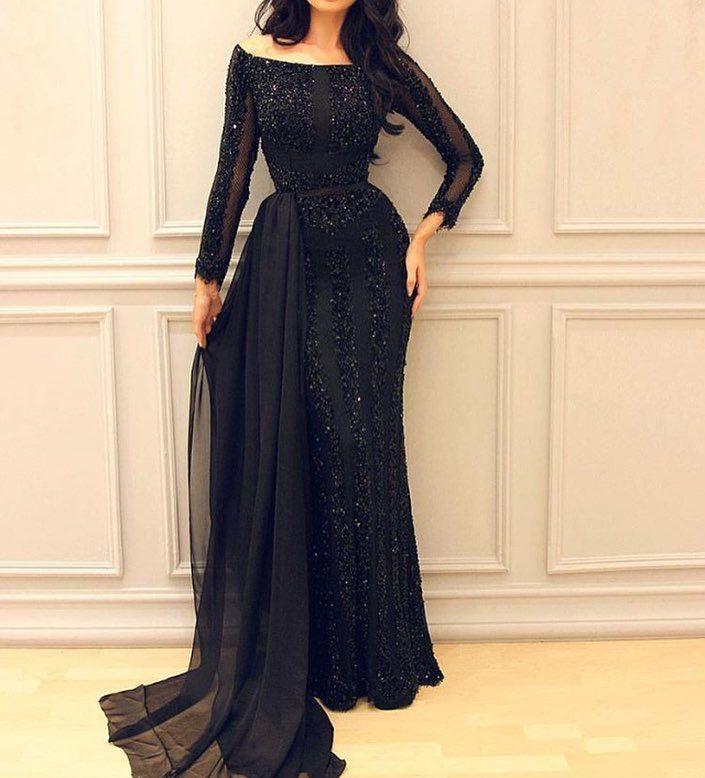 Free Shipping  Buy Best Black Dubai Arabic Long Sleeve Muslim Evening Dress  Kaftan Islamic Abaya Beaded Mermaid Formal Dress For Weddings Abendkleider  ... 11562796f78a