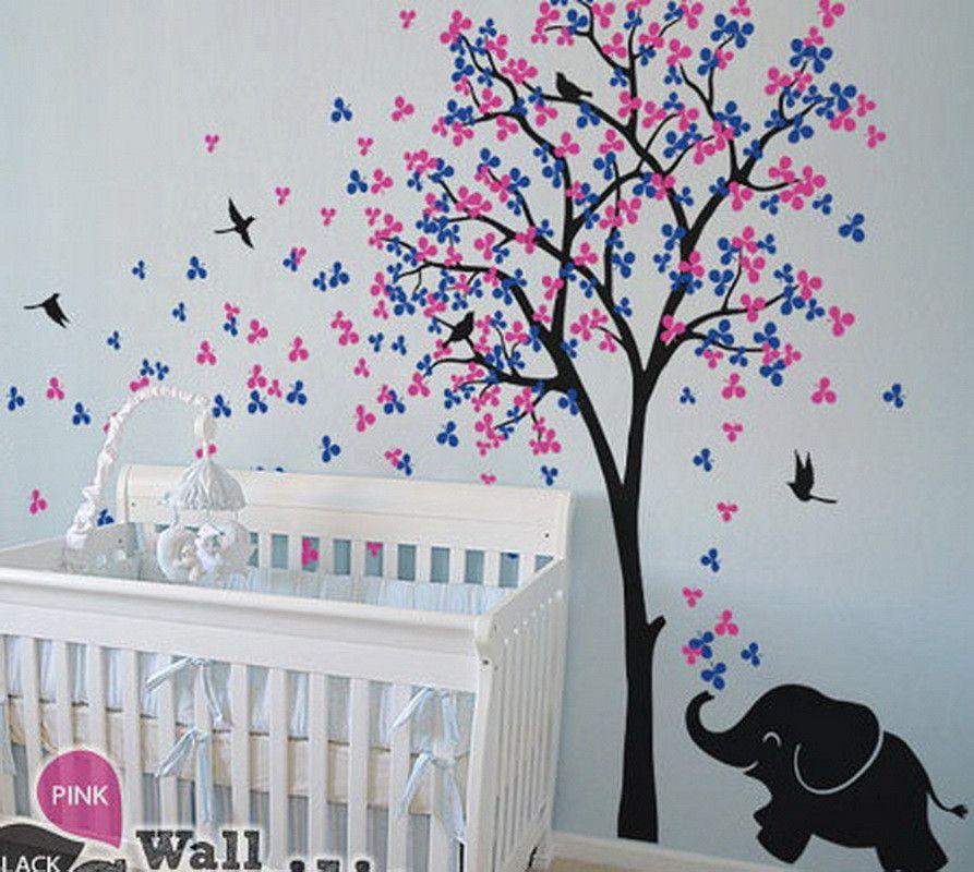 Baby Elephant Bird Flower Blossom Tree Wall Decals Art Nursery Sticker Kids Decor Mural