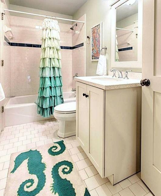 Shower Curtain Coastal Bath Rug Combo Ideas The Look