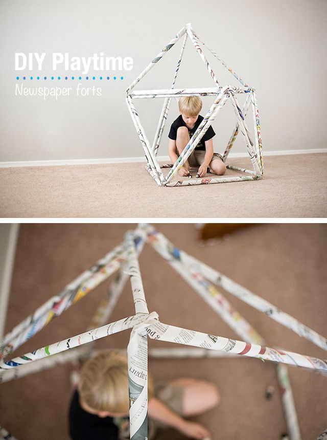 newspaper fort diy for kids on Modern Parents Messy Kids (by Allison of All for the Boys)
