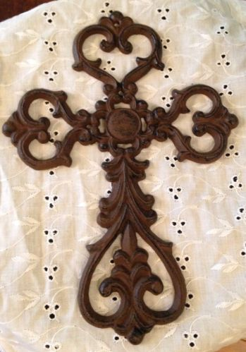 Wrought Iron Decorative Cross Wall Hanging Plaque Ornate Ebay