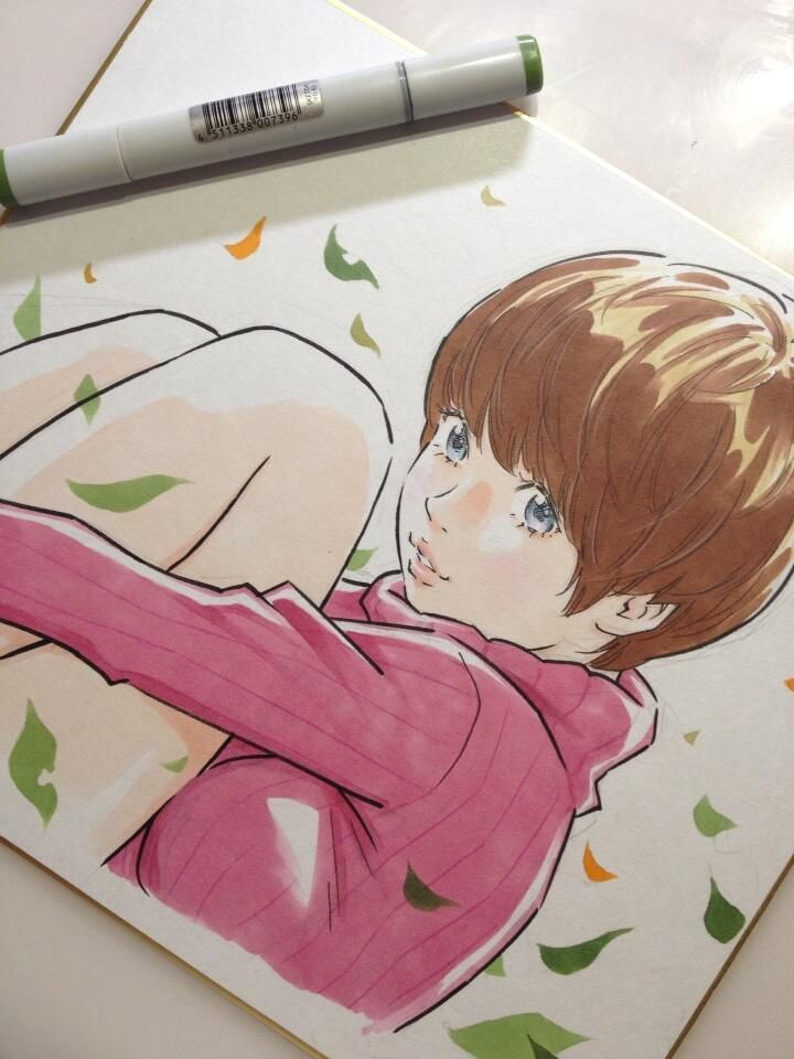 秋っぽい色紙をサラサラッ by Eisaku