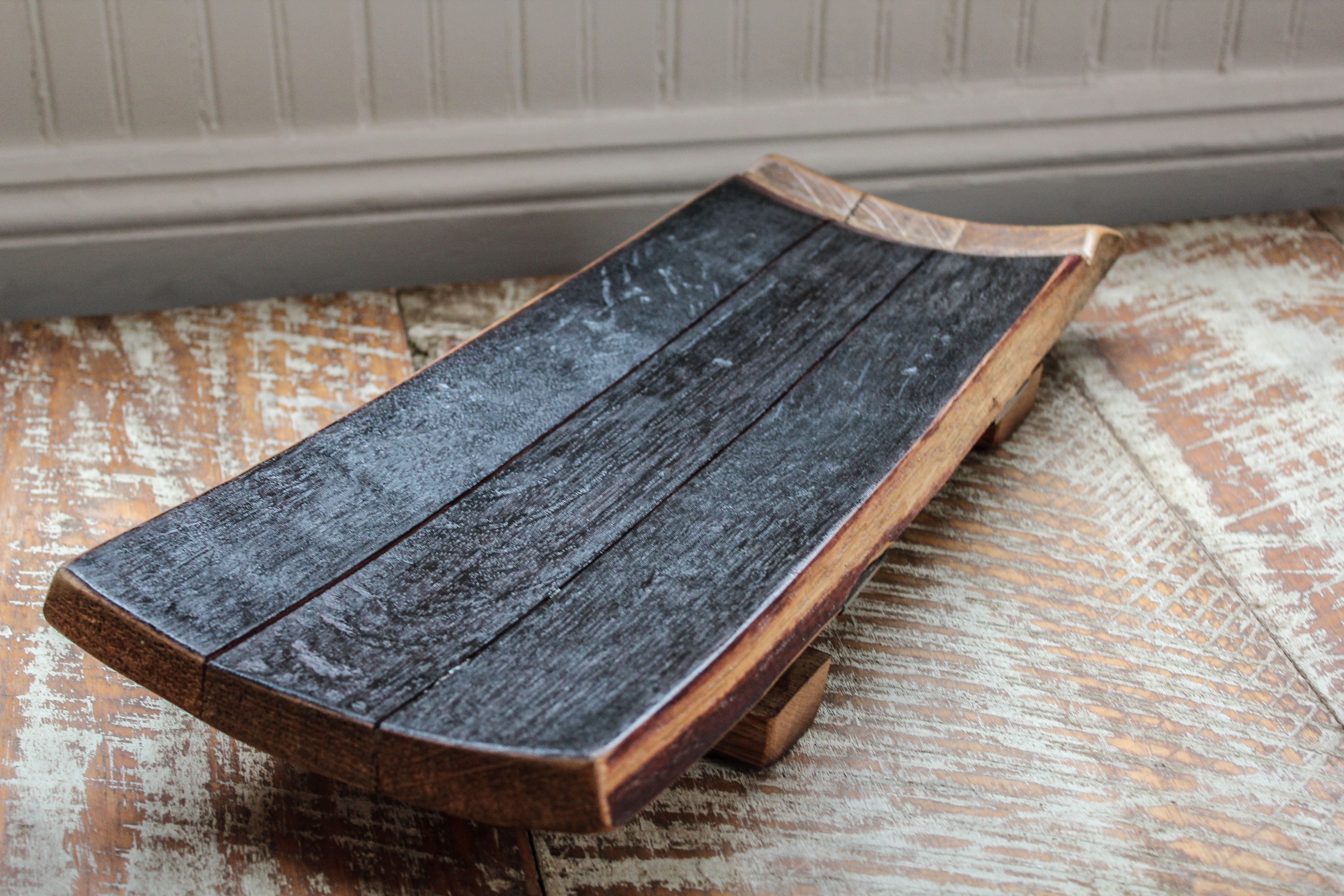 Cheese Board Made From Reclaimed Wine Barrel Wood Materials Measures 18 L X 8