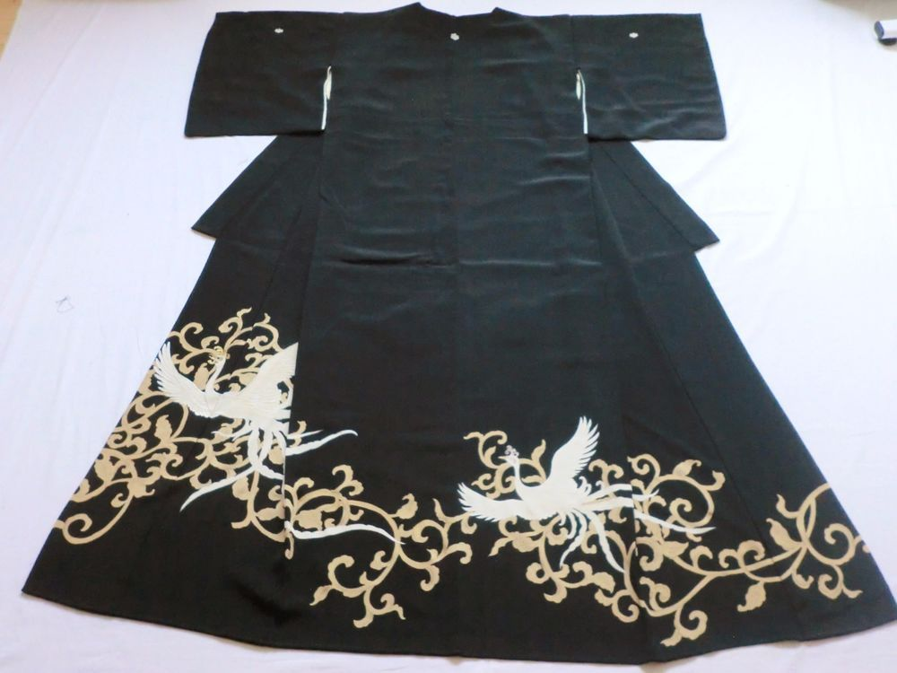 Japanese Kimono Silk Black Tomesode Phoenix P041953   eBay