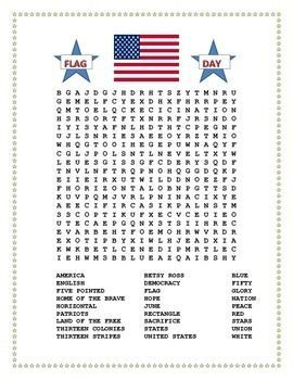 This exciting Flag Day Word Search & Double Puzzle is a great educational opportunity for the last Days of School. Flag Day is celebrated on June 14. This word search will help you teach students about the significance of the stripes and colors of the American Flag.: