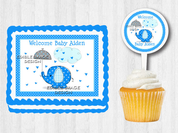 BLUE ELEPHANT Edible Baby Shower Birthday Party Cake ...