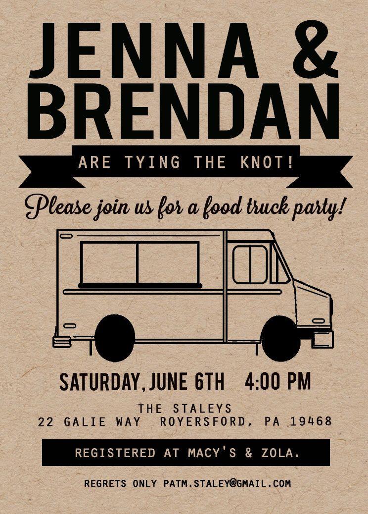 Food Truck Invitation Kraft Invitation Couple Shower Invitation