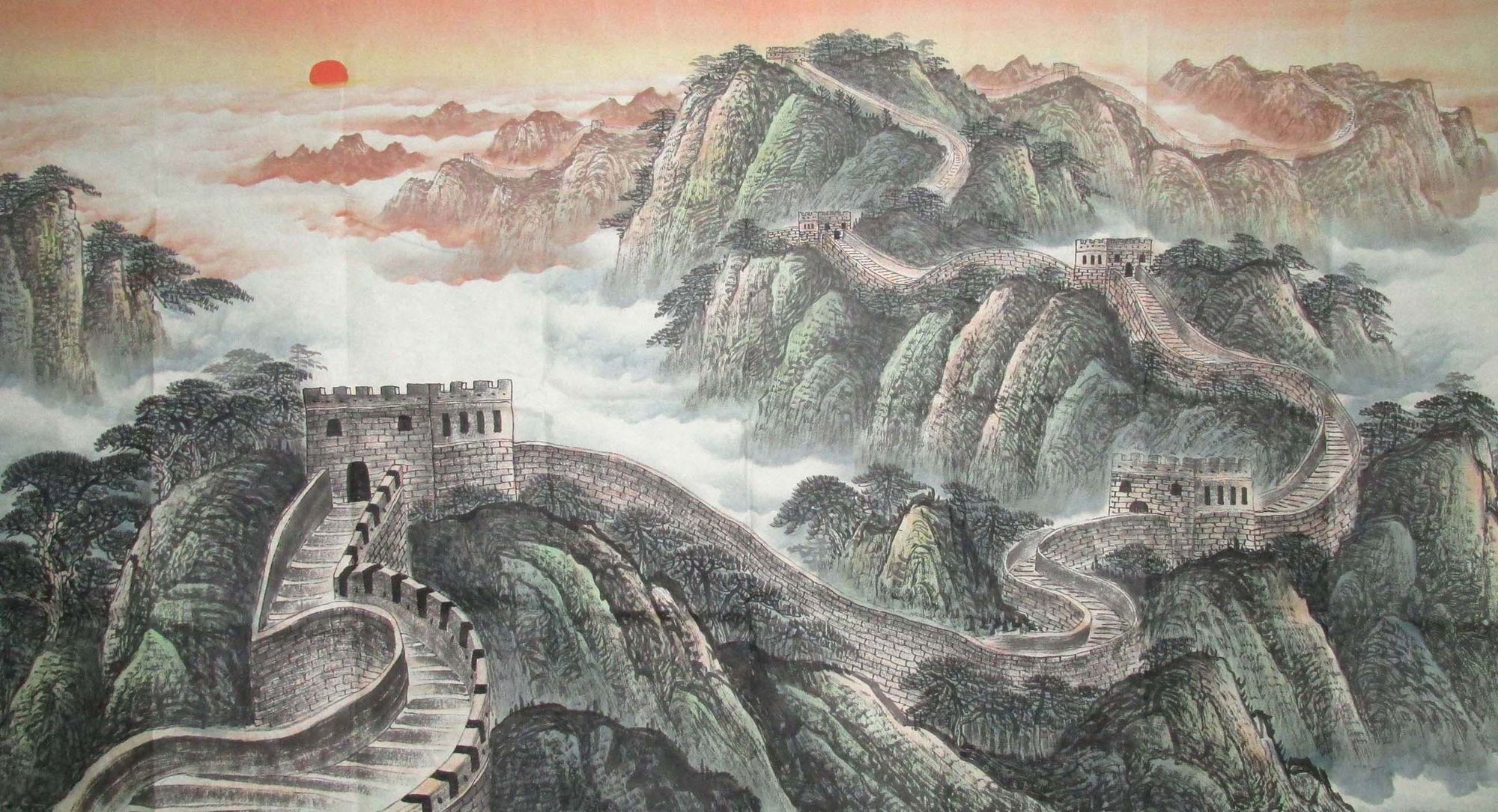 Watercolor art history brush - The Great Wall Landscape Freehand Brush Work Chinese Ink Painting