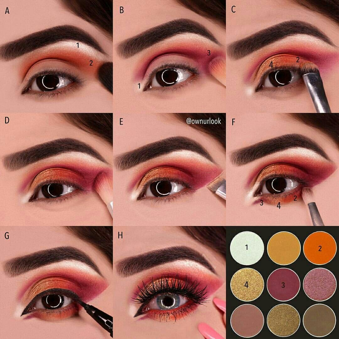how to wear red eyeshadow and pull it off? try this step by