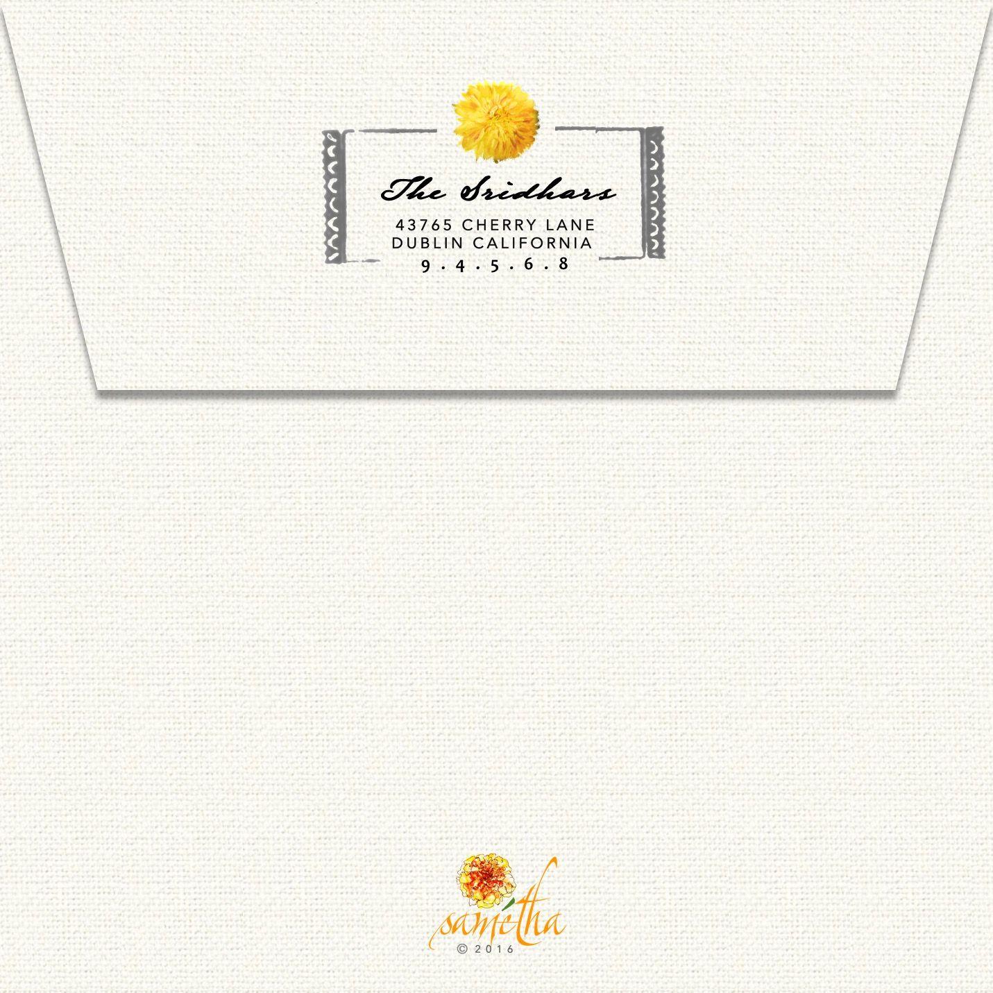 Samétha S South Indian Wedding Invitation Card Envelope Back