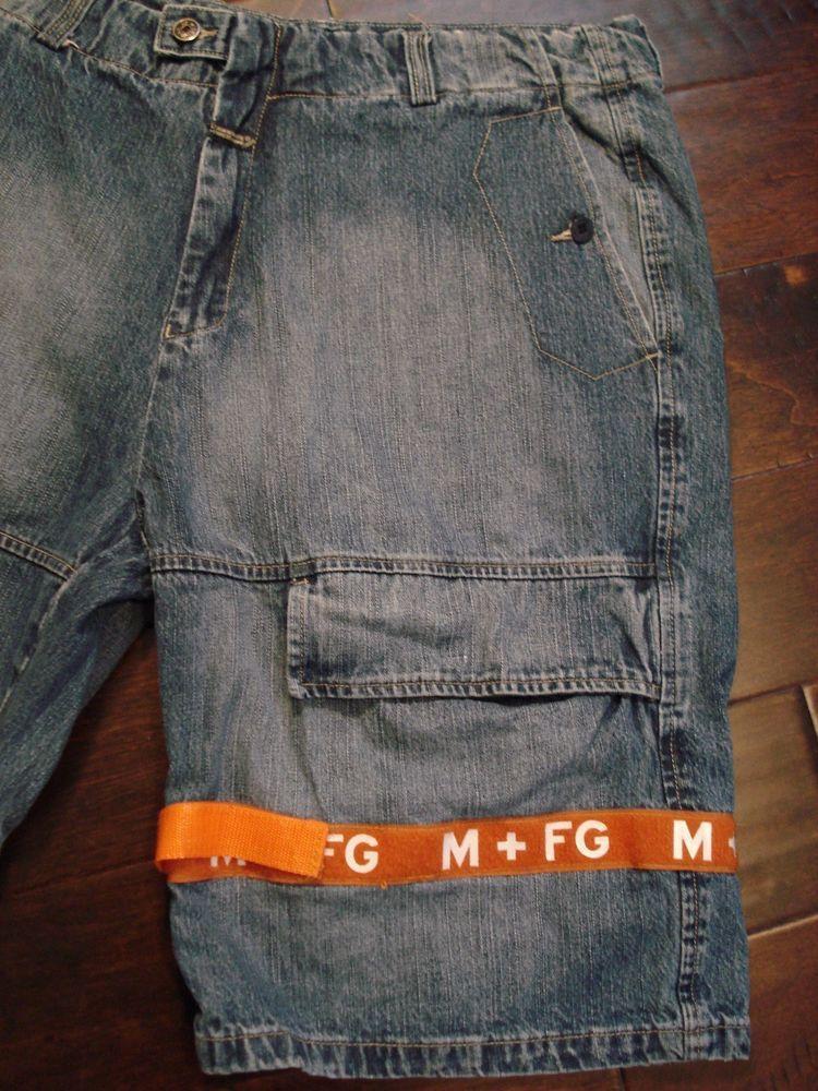 42acdbc0 Mens Marithe Francois Girbaud Shuttle Tape Denim Shorts Velcro Baggy Size  38 #MaritheFrancoisGirbaud #Cargo