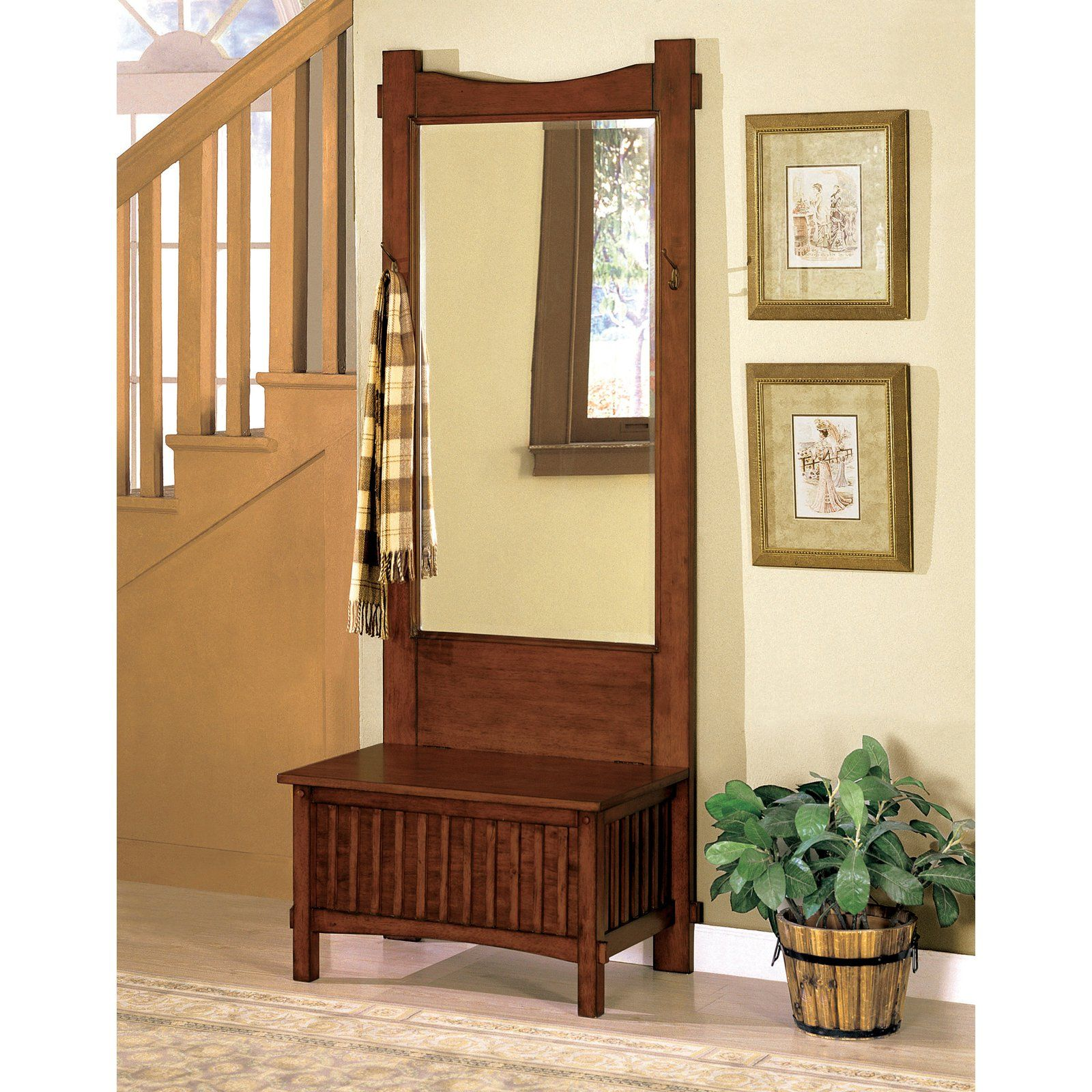Hall Tree Bench With Mirror Part - 15: Lavinia Mirror Hall Tree - Antique Oak - Make The Most Out Of Your Hall Or