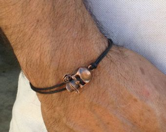 Free Shipping Mens Skull Bracelet Copper Simple Cord Men Black Man