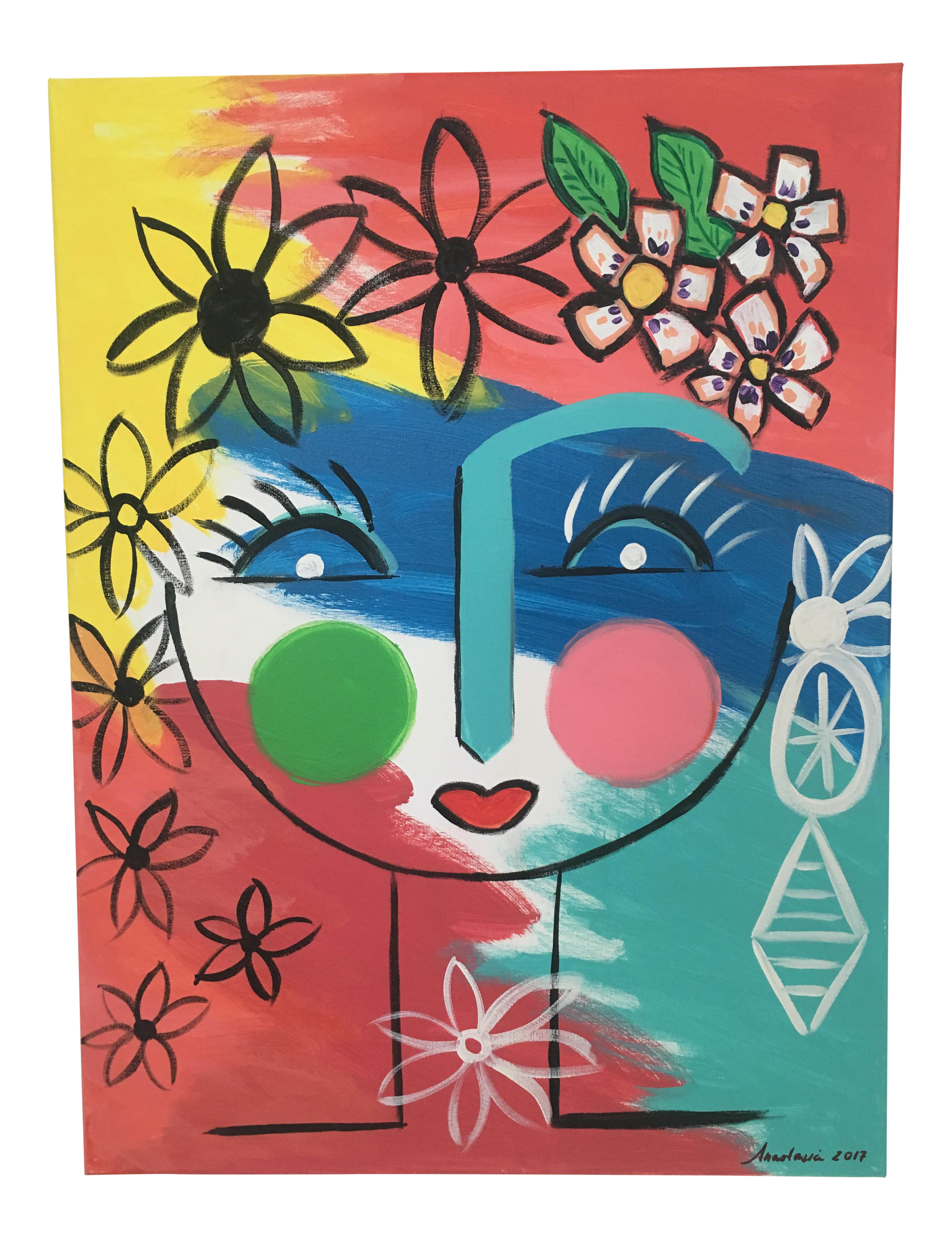 Original April Acrylic Abstract Face Painting On Chairish Com Easy Abstract Art Abstract Faces Face Painting Designs