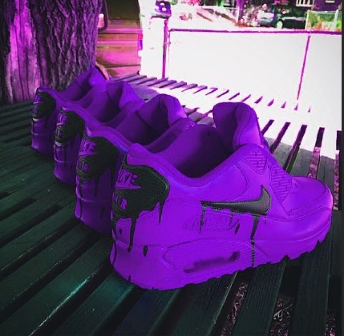 Nike Air Max 90 Custom Candy Melt Purple Black Running Shoes
