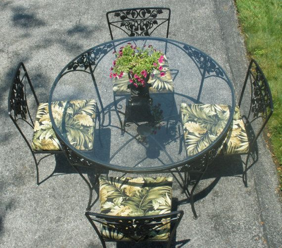 Wrought Iron Table, 4 Chairs, Cushions. Woodard. Grapes Leaves. Barkcloth.  Vintage 1950s. Outdoor Indoor Furniture. More Pieces Available